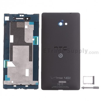 For HTC 8X Housing Replacement - Black - With Logo - Grade S+