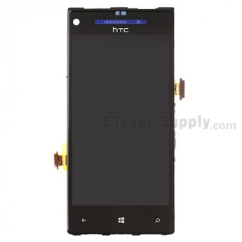 For HTC 8X LCD Screen and Digitizer Assembly with Front Housing and Light Guide Replacement (Blue) - With Logo - Grade S+