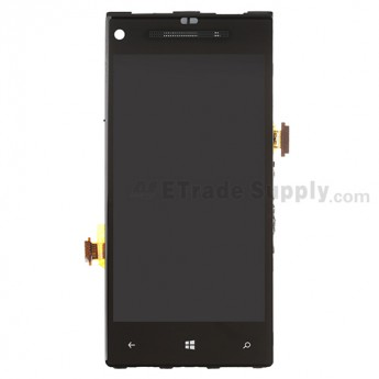 For HTC 8X LCD Screen and Digitizer Assembly with Front Housing and Light Guide Replacement (Black) - With Logo - Grade S+