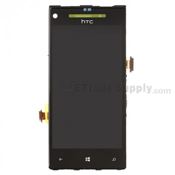 For HTC 8X LCD Screen and Digitizer Assembly with Front Housing and Light Guide  Replacement (Neon Yellow)  - With HTC Logo Only - Grade S+