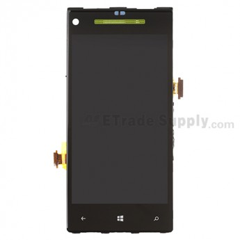 For HTC 8X LCD Screen and Digitizer Assembly with Front Housing and Light Guide Replacement (Neon Yellow) - Without Any Logo - Grade S+