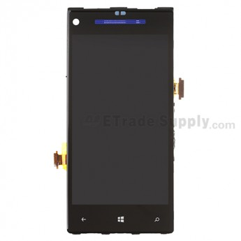 For HTC 8X LCD Screen and Digitizer Assembly with Front Housing and Light Guide Replacement (Blue) - Without Any Logo - Grade S+
