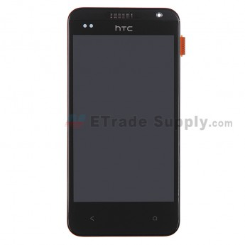 For HTC Desire 300 LCD Screen and Digitizer Assembly with Front Housing Replacement - Black - With Logo - Grade S+