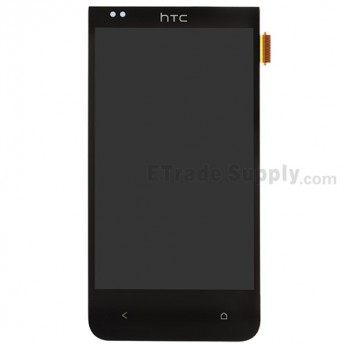For HTC Desire 300 LCD Screen and Digitizer Assembly without Light Guide Replacement - Black - With Logo - Grade S+