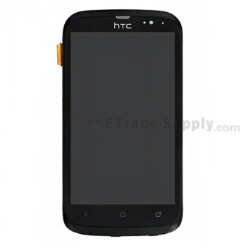 For HTC Desire V T328W LCD Screen and Digitizer Assembly with Front Housing and Light Guide Replacement ,Black - Grade S+