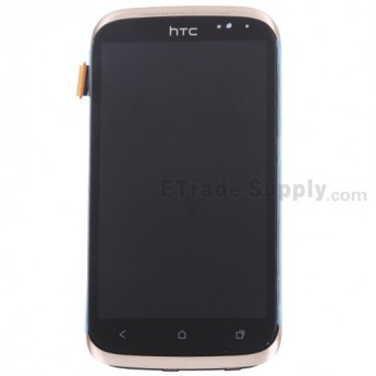 For HTC Desire X LCD Screen and Digitizer Assembly with Front Housing and Light Guide Replacement - Gold - With Logo - Grade S+