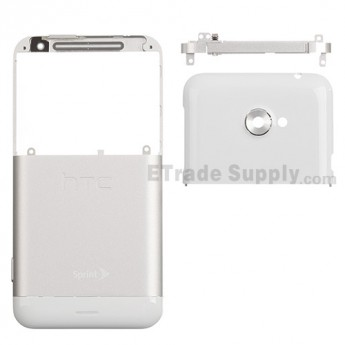 For HTC EVO 4G LTE Rear Housing Assembly Replacement - White - With Logo - Grade S+