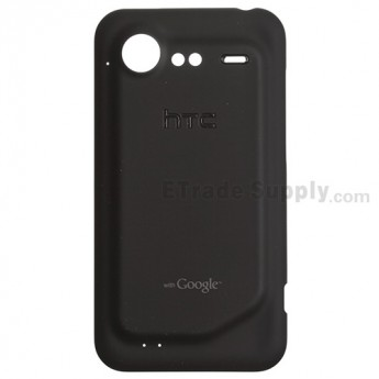 For HTC Incredible S Battery Door Replacement - Black - With Logo - Grade S+