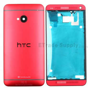 For HTC One Housing Replacement (International Version) - Red - Grade S+