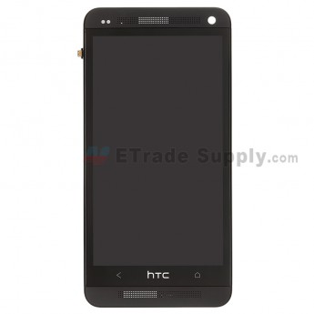 For HTC One LCD Screen and Digitizer Assembly with Front Housing Replacement - Black - Grade S+