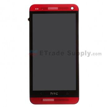 For HTC One LCD Screen and Digitizer Assembly with Front Housing Replacement - Red - Grade S+