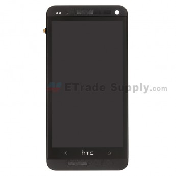 For HTC One LCD Screen and Digitizer Assembly with Front Housing Replacement - Black - Grade A