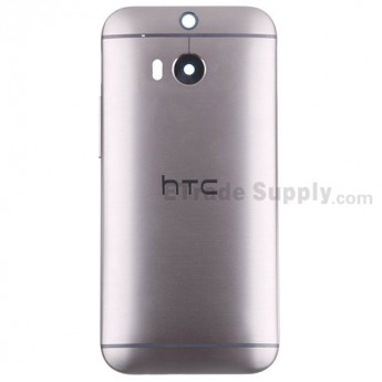 For HTC One M8 Rear Housing Replacement (Gray) - With Logo Only - Without Words - Grade S+