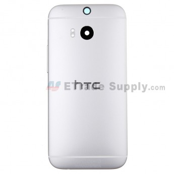 For HTC One M8 Rear Housing Replacement (Silver) - With Logo - With Words - Grade S+