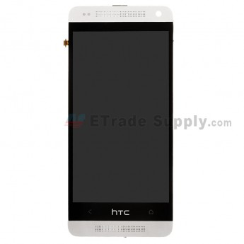 For HTC One Mini LCD Screen and Digitizer Assembly with Front Housing Replacement - White - With Logo - Grade S+