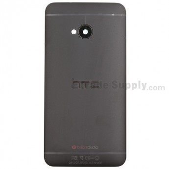 For HTC One Rear Housing Replacement (Black) - With Logo - With Words - Grade S+