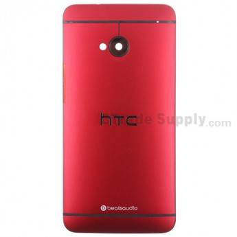 For HTC One Rear Housing Replacement (Red) - With Logo - Without Words - Grade S+