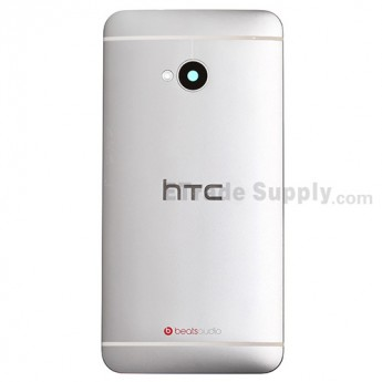 For HTC One Rear Housing Replacement (White) - With Logo - With Words - Grade S+