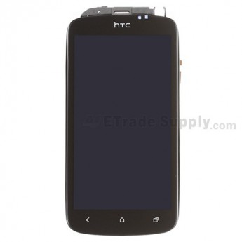 For HTC One S LCD Screen and Digitizer Assembly with Front Housing Replacement - With Logo - Grade S+