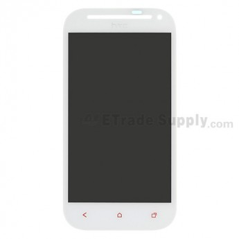 For HTC One SV LCD Screen and Digitizer Assembly with Light Guide and Red Navigator Keypad  Replacement - White, With Logo - Grade S+