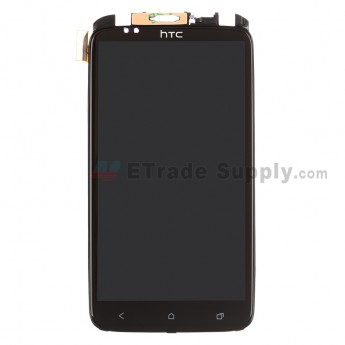 For HTC One X LCD Assembly with Front Housing and Light Guide Replacement (LCD: Sharp Version) - Black - With Logo - Grade S+