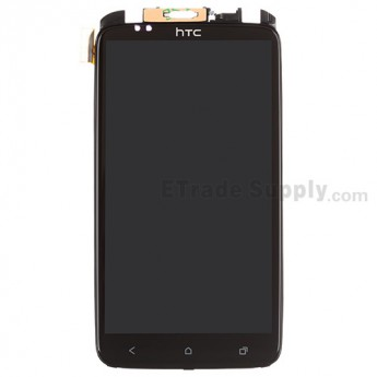 For HTC One X LCD Assembly with Front Housing and Light Guide Replacement (LCD: Sharp Version)  - Black - With Logo - Grade A