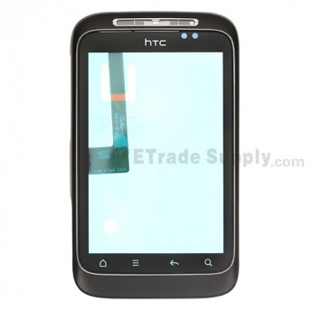 For HTC Wildfire S Digitizer Touch Screen with Front Housing Replacement (HTC) ,Black - Grade S+