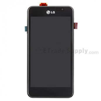 For LG Escape P870 LCD Screen and Digitizer Assembly with Front Housing  Replacement - Black - With Logo - Grade S+