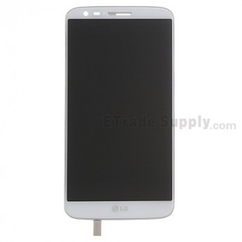 For LG G2 D800 LCD Screen and Digitizer Assembly with Front Housing Replacement - White - With Logo - Grade S+