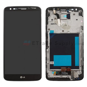 For LG G2 VS980 LCD Screen and Digitizer Assembly with Front Housing Replacement (No Small Parts) - Black - With Logo - Grade S+