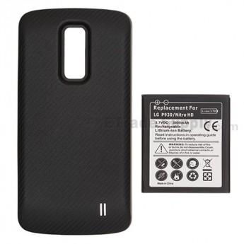 For LG Nitro P930 Extended Life Battery and Over-sized Battery Door Replacement (3800 mAh) - Grade S+