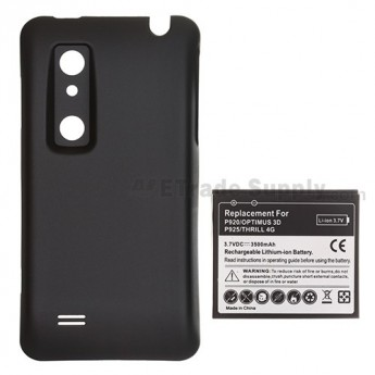 For LG Optimus 3D P920, Thrill P925 Extended Life Battery and Over-sized Battery Door  Replacement (3500 mAh)  - Grade S+