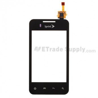 For LG Optimus Elite LS696 Digitizer Touch Screen Replacement - Black - With Logo - Grade S+