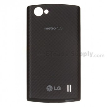 For LG Optimus M+ MS695 Battery Door  Replacement ,Black. With Logo - Grade S+