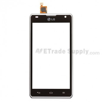 For LG Spirit 4G MS870 Digitizer Touch Panel with Front Housing Replacement - With Logo - Grade S+
