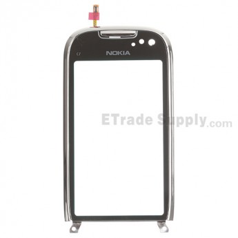 For Nokia C7 Digitizer Touch Screen with Front Housing Replacement ,Silver - Grade S+