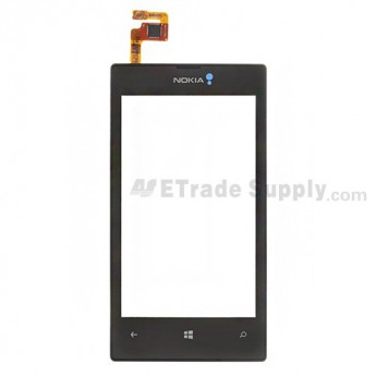 For Nokia Lumia 520 Digitizer Touch Screen with Front Housing Replacement - Black - With Logo - Grade S+