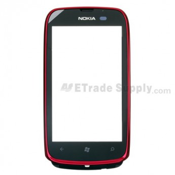 For Nokia Lumia 610 Digitizer Touch Screen with Front Housing Replacement ,Red - Grade S+
