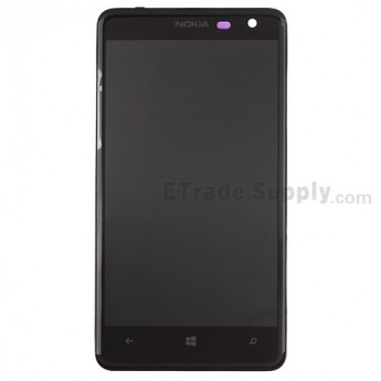 For Nokia Lumia 625 LCD Screen and Digitizer Assembly with Front Housing Replacement - Black - Grade S+