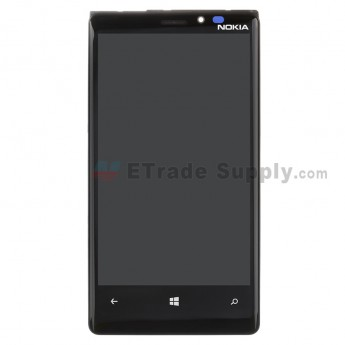 For Nokia Lumia 920 LCD Screen and Digitizer Assembly with Aftermarket Front Housing Replacement - Black - With Logo - Grade S+