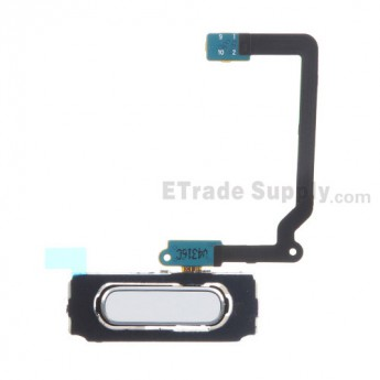 For Samsung Galaxy S5 SM-G900/G900A/G900V/G900P/G900R4/G900T/G900F Home Button With Flex Cable Ribbon Replacement - White - Grade S+