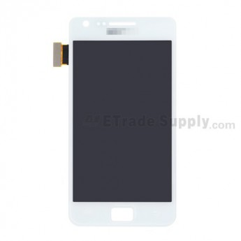 For Samsung Galaxy S II i9100 LCD Screen and Digitizer Assembly With Glass Lens Replacement - White - With Logo - Grade S+