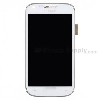 For Samsung Galaxy S II SGH-T989 LCD Screen and Digitizer Assembly with Front Housing Replacement - White - With Logo - Grade S+