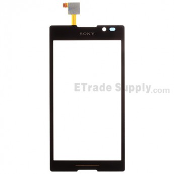 For Sony Xperia C S39h Digitizer Touch Screen with Adhesive Replacement - Black - With Logo - Grade S+