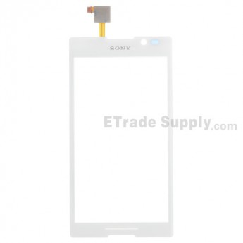 For Sony Xperia C S39h Digitizer Touch Screen with Adhesive Replacement - White - With Logo - Grade S+