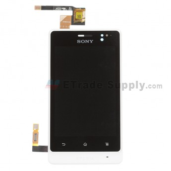 For Sony Xperia go ST27i LCD Screen and Digitizer Assembly with Front Housing Replacement - White - Grade S+