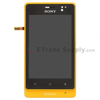 For Sony Xperia go ST27i LCD Screen and Digitizer Assembly with Front Housing Replacement - Yellow - Grade S+