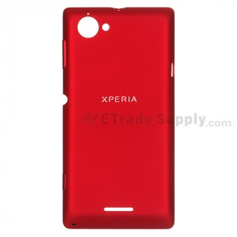 For Sony Xperia L S36h C2104, C2105 Battery Door  Replacement - Red - with Logo - Grade S+