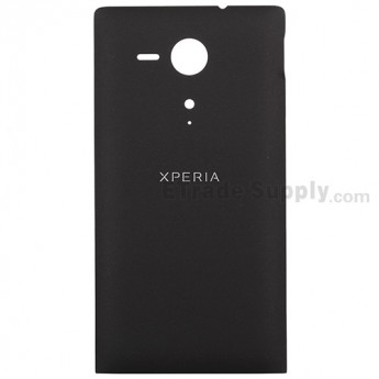 For Sony Xperia SP M35h Battery Door Replacement - Black - With Logo - Grade S+