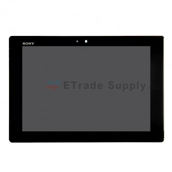 For Sony Xperia Tablet Z LCD Screen and Digitizer Assembly With Front Housing Replacement - Black - With Logo - Grade S+